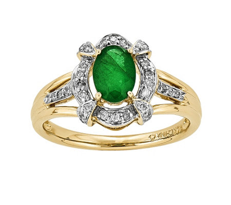 14K Diamond & Emerald Halo Ring