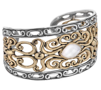 Carolyn Pollack Mixed Metal Mother-of-Pearl Coronation Cuff - J343611