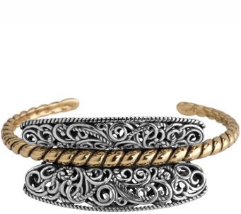 Carolyn Pollack Sterling & Brass Rope Center Cuff - J343811