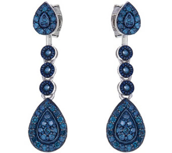 Blue Diamond Earrings, Sterling, 3/10 cttw, byAffinity - J344111