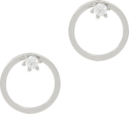 Diamonique 4/10 cttw Circle Drop Earrings, Sterling