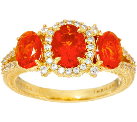 Judith Ripka 14K Clad 1.50 cttw Mexican Fire Opal Ring