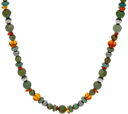 American West Sterling Silver Amber and Green Turquoise Bead Necklace