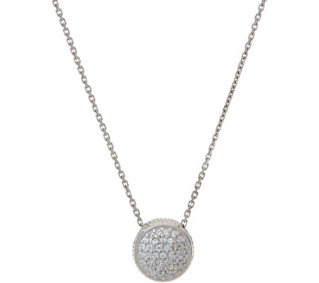 Diamonique Pave' Round Pendant with Chain Sterling