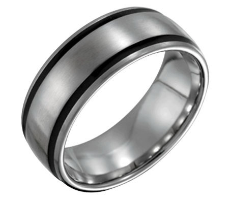 Forza Men's 8mm Steel with Black Accent SatinRing