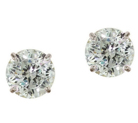 Diamonique 2.00 ct tw 100-Facet Stud Earrings,1 4K Gold