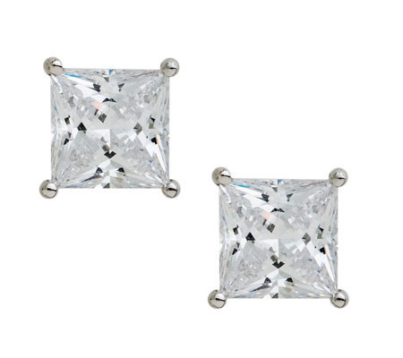 Epiphany Diamonique 4.00 ct tw Princess CutStudEarrings