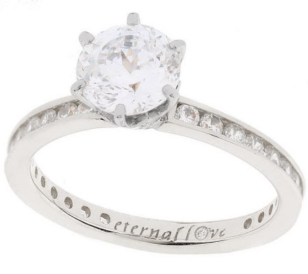 """As Is"" Diamonique 100-Facet 2.05 ct tw ""Eternal Love"" Ring, 14K"