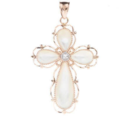 Mother-of-Pearl Cross Pendant with Diamond Cut Border 14K Gold