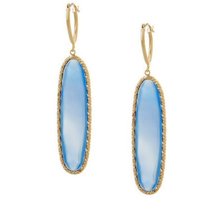 VicenzaGold Average Elongated Chalcedony Earring14K Gold
