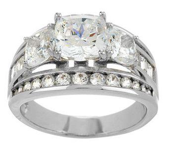diamonique cushion 3 stone ring platinum clad j271112 - Diamonique Wedding Rings
