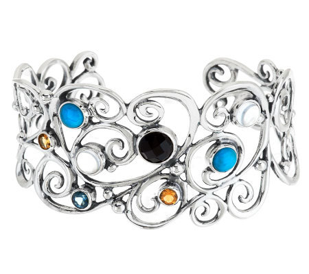 Carolyn Pollack Multi Gemstone Swirl Design Sterling Cuff product J278712 on qvc lori goldstein