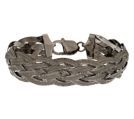 "Vicenza Silver Sterling 8"" Diamond Cut Braided Woven Bracelet, 16.0g"