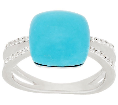 Sleeping Beauty Turquoise & White Zircon Sterling Ring