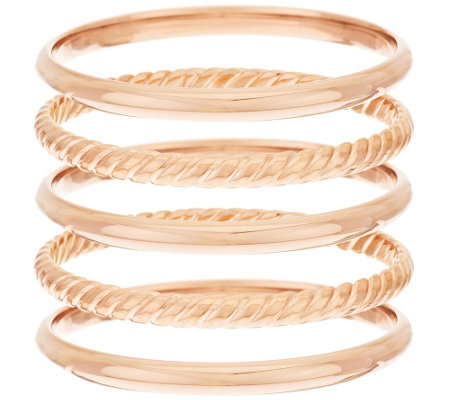 Bronzo Italia Avg. Set of 5 Polished & Rope Textured Round Bangles