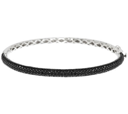 3.00 ct tw Black Spinel Pave' Sterling Oval Bangle Bracelet