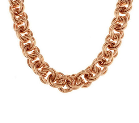 "Bronze 22"" Bold Triple Rolo Link Necklace by Bronzo Italia"