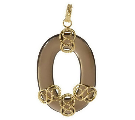 """As Is"" Vicenza Gold Oval Gemstone Figure Eight Pendant, 14K"