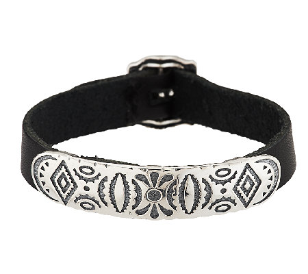 American West Sterling Adjustable Leather Strap Bracelet