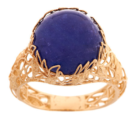 Adi Paz Tanzanite Cabochon Floral Design Ring, 14K Gold