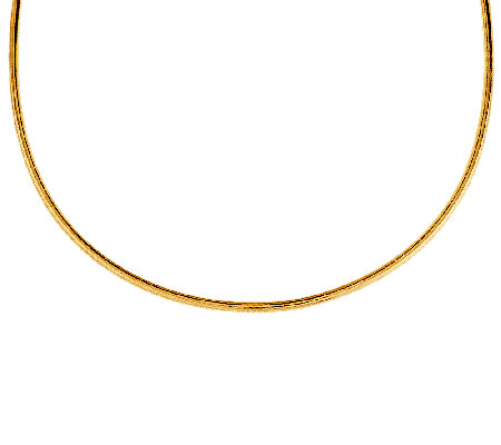 "Vicenza Gold 18"" Mesh Wrapped Round Omega Necklace 14K Gold"
