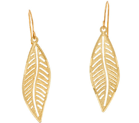 14k Gold Diamond Cut Leaf Design Dangle Earrings