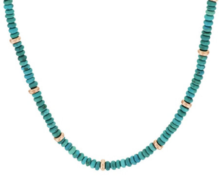 "Bronze 16"" Turquoise & Bead Necklace by Bronzo Italia"