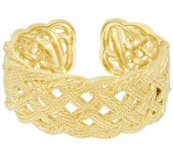 Judith Ripka Sterling & 14k Clad Braided Berge Texture Hinged Cuff - J296612