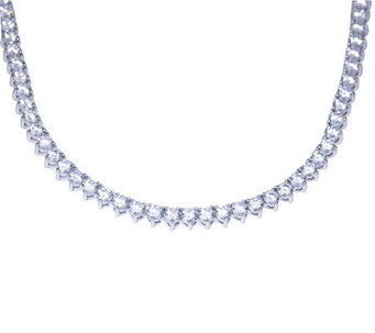 Diamonique 12.70 cttw Round Tennis Necklace, Platinum Clad - J297712