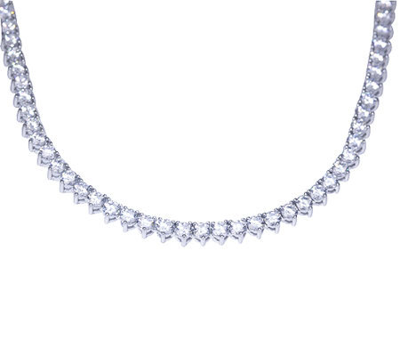 Diamonique 12.70 cttw Round Tennis Necklace, Platinum Clad
