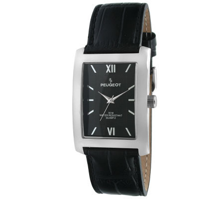 Peugeot Men's Silvertone Black Leather Strap Watch
