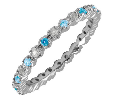 Simply Stacks Sterling Blue Topaz & Diamond Stackable Ring