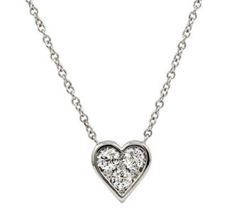 Diamonique 100-Facet 8/10 cttw Heart Pendant, Platinum Clad - J309712