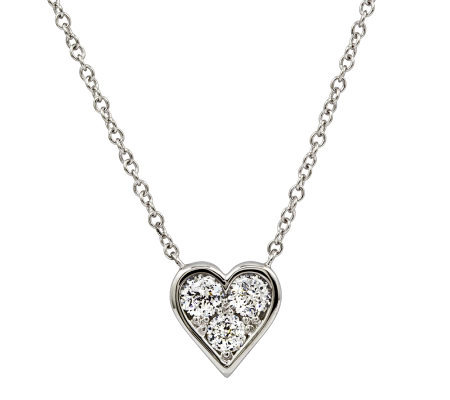 Diamonique 100-Facet 8/10 cttw Heart Pendant, Platinum Clad