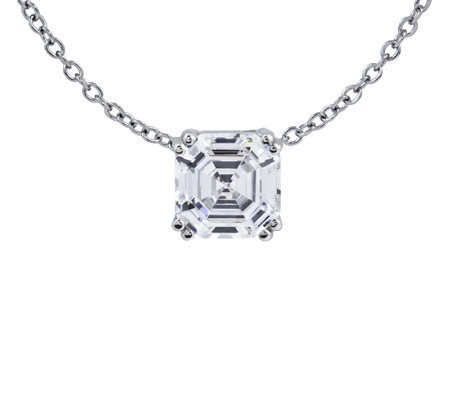 Diamonique 3.00 ct Asscher Cut Pendant, Platinum Clad