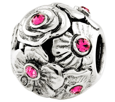 Prerogatives Sterling Pink Swarovski Crystal Flower Bead