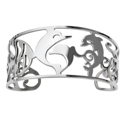 Stainless Steel Cutout Dolphins Cuff
