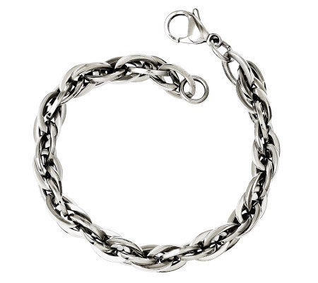 "Stainless Steel 8"" Oval Interlocking Link Bracelet"