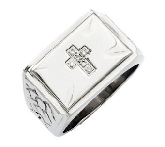 Forza Men's Stainless Steel Diamond Accent Cross Ring - J312912