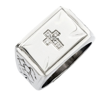 Forza Men's Stainless Steel Diamond Accent Cross Ring