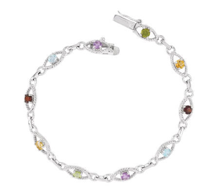 "Sterling 7"" 2.50 cttw Multi-Gem Oval Link Bracelet"