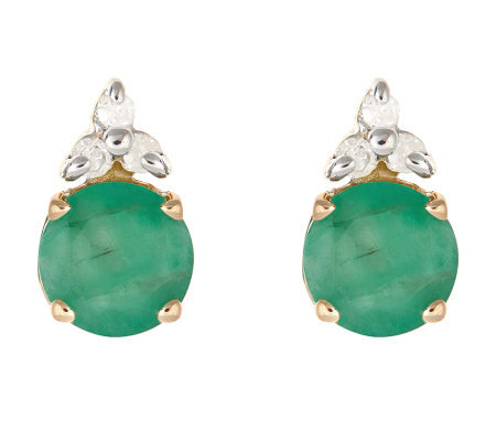 0.75 ct tw Emerald and Diamond Accent Earrings,14K Gold