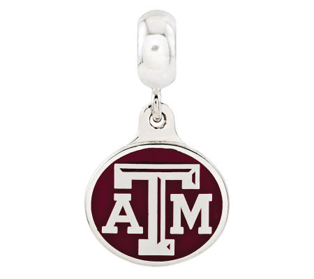 Sterling Silver Texas A & M University Dangle Bead