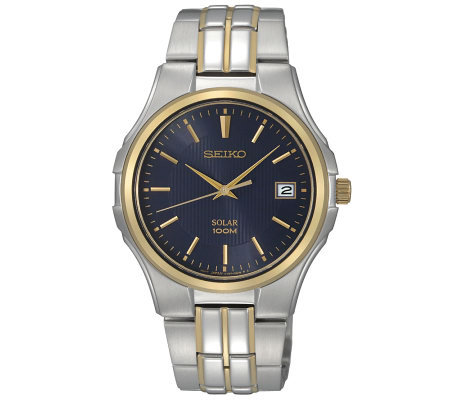 Seiko Men's Two-Tone Solar Blue Dial Dress Watch