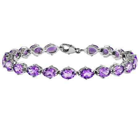 "Sterling 7-3/4"" Oval Gemstone Tennis Bracelet"