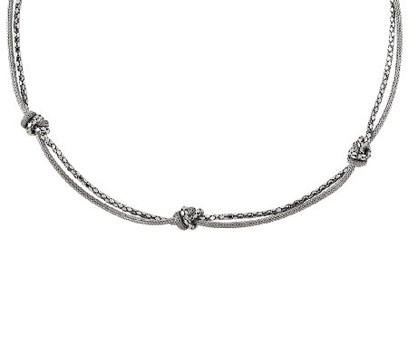 "Sterling Silver 18"" Knot Station Double StrandMesh Necklace"