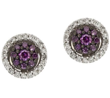 Purple Diamond Stud Earrings Sterling 1 2 Cttw By Affinity