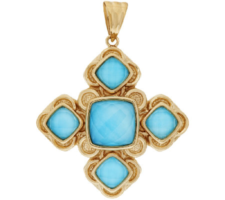 14K Gold Sleeping Beauty Turquoise Doublet Cross Pendant