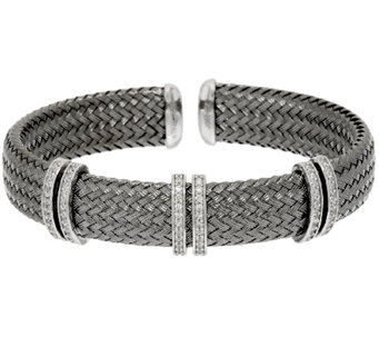 VicenzaSilver Sterling Woven Diamonique Station Cuff Bracelet - J320112