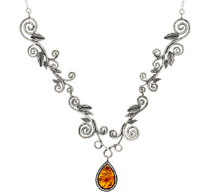 Sterling Silver Leaf Scroll Amber Drop Necklace by Or Paz